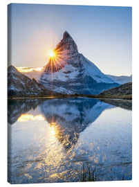 Canvas print  Riffelsee and Matterhorn in the Swiss Alps - Jan Christopher Becke