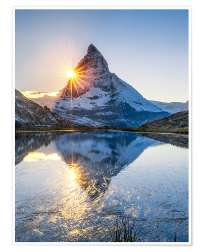 Premium poster Riffelsee and Matterhorn in the Swiss Alps