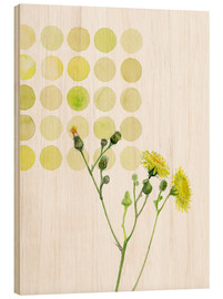 Wood print  Field Sowthistle in dots - Verbrugge Watercolor