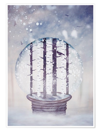 Premium poster  Snowglobe with birch trees and raven - Sybille Sterk
