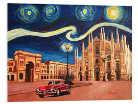Foam board print  Starry Night in Milan Italy Oldtimer and Cathedral - M. Bleichner