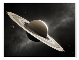 Premium poster Planet Saturn with major moons
