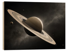 Wood print  Planet Saturn with major moons - Johan Swanepoel
