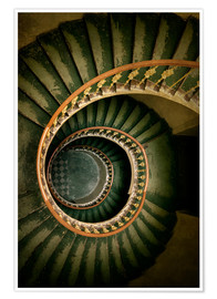 Premium poster Spiral staircase in green and brown tones