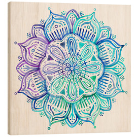 Wood print  Mandala in blue and purple - Micklyn Le Feuvre