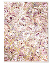Premium poster Dusty Rose and Coral Art Deco Marbling Pattern