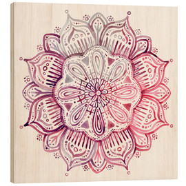 Wood print  Mandala in red and pink - Micklyn Le Feuvre