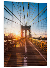 Foam board print  Brooklyn Bridge in the sunlight, New York City, USA - Jan Christopher Becke