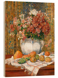 Wood print  Still Life with Flowers and Prickly Pears - Pierre-Auguste Renoir