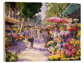 Wood print  Flower market in Barcelona - Paul Simmons