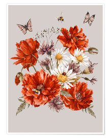 Premium poster  Poppies, Daisies and Cornflowers