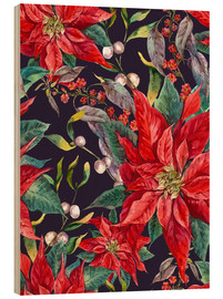 Wood print  The Poinsettia