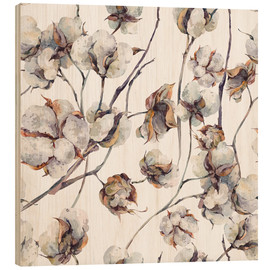 Wood print  Cotton watercolor