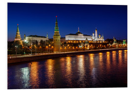 Foam board print  Moscow Kremlin and Vodovzvodnaya tower at night