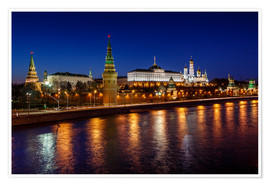 Premium poster  Moscow Kremlin and Vodovzvodnaya tower at night