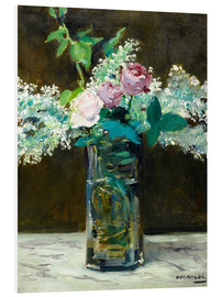 Foam board print  Vase with White and Pink Lilacs - Edouard Manet