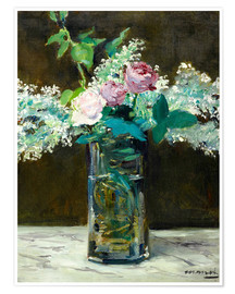 Premium poster  Vase with White and Pink Lilacs - Edouard Manet