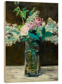 Wood print  Vase with White and Pink Lilacs - Edouard Manet