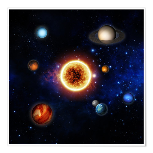 Premium poster Our sun and planets