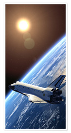 Premium poster  Space shuttle orbiting earth