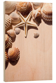 Wood print  Starfish and shells