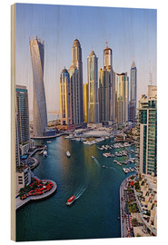 Wood print  Dubai Marina from above