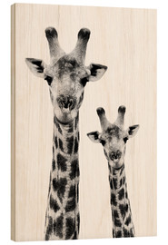 Wood print  Giraffe and Baby - Philippe HUGONNARD