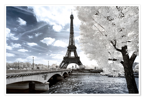 Premium poster Infrared Eiffel Tower and Seine