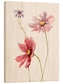 Wood print  Cosmos flower and cornflower - Verbrugge Watercolor