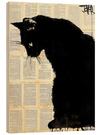 Wood print  Black cat - Loui Jover