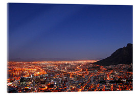 Acrylic glass  Cape Town at night, South Africa - wiw