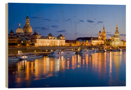 Wood print  Dresden at night - Dieterich Fotografie