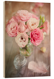 Wood print  Romantic rose bouquet with feather