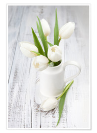 Premium poster  White tulips on whitewashed wood
