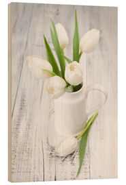 Wood print  White tulips on whitewashed wood