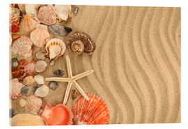 Acrylic print  Shells and starfish on sand
