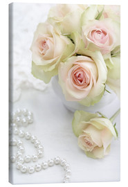 Canvas  Pastel-colored roses with pearls
