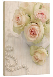 Wood print  Pastel-colored roses with pearls