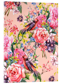 Acrylic glass  Roses and birds
