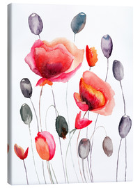 Canvas print  Poppy flowers and capsules