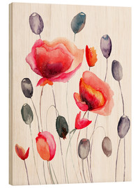 Wood print  Poppy flowers and capsules