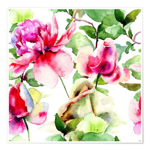 Premium poster Roses Watercolor