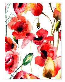 Premium poster Poppy and Tulips flowers