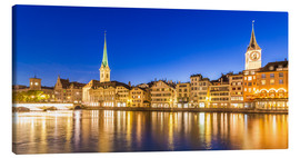 Canvas  Zurich at night - Dieterich Fotografie