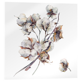 Acrylic print  Cotton flower twigs