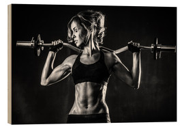 Wood print  Sportswoman with a barbell