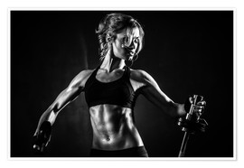 Premium poster Sportswoman with barbell
