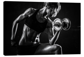 Canvas print  Sportswoman with dumbbells