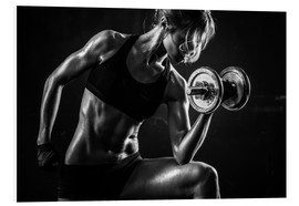 Foam board print  Sportswoman with dumbbells