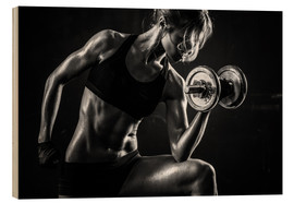 Wood print  Sportswoman with dumbbells